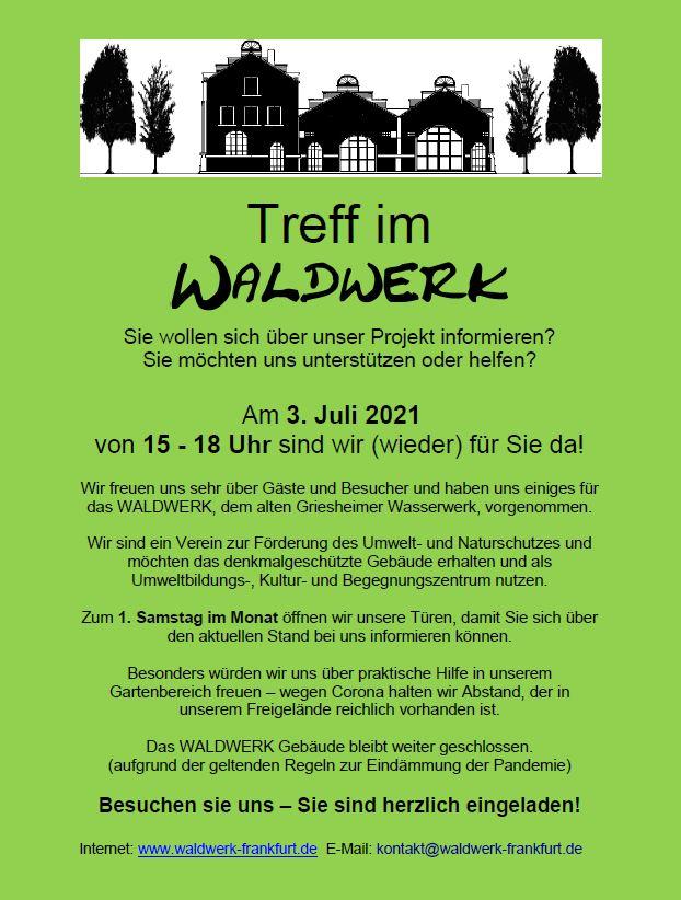 Treff im Waldwerk am 3. Juli